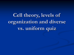 Cell theory and levels of organization quiz