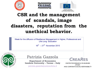CSR and the management of scandals, image disasters