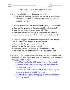 Name Date Physics Period Projectile Motion Practice Problems A