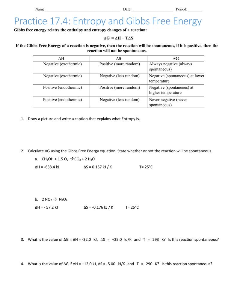 worksheet Gibbs Free Energy Worksheet worksheet 1