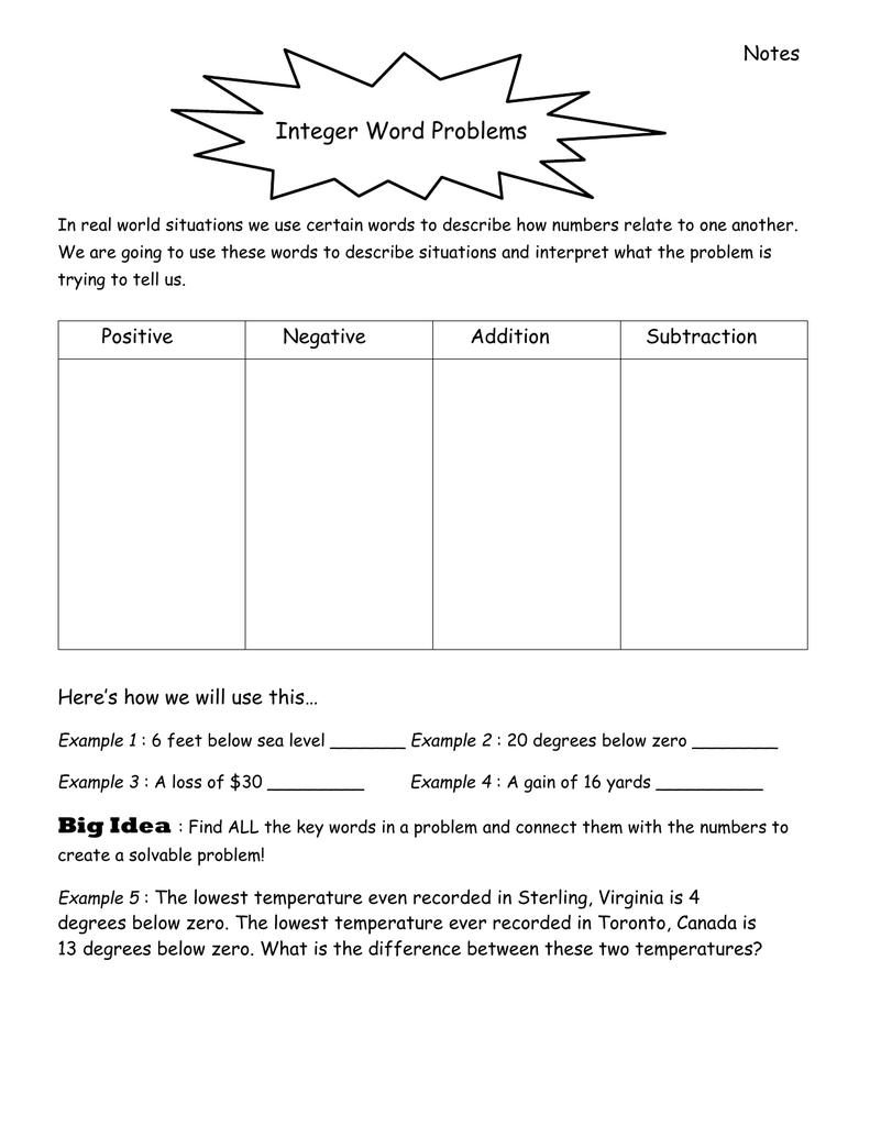 Integer Word Problem Notes