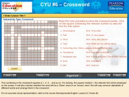 CYU #6 – Crossword