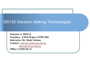 Slides about IS5152 Decision Making Technologies, January 11