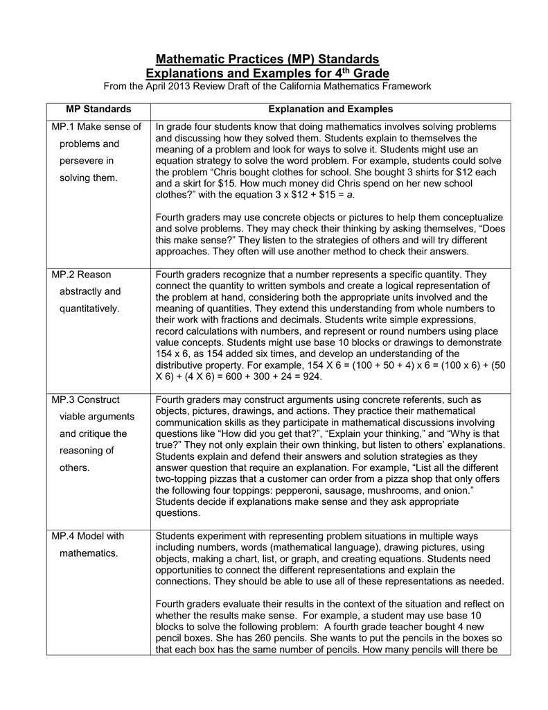 Standards for Mathematical Practice — Explanations and Examples