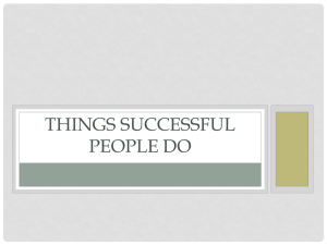 Things Successful People do