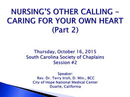 Nursings Other Calling: Care of Your Own Heart