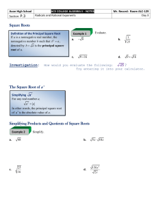 P.3: Radicals and Rational Exponents