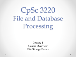 CpSc 2100 Software Design and Development