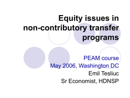 Equity issues in non-contributory transfer programs