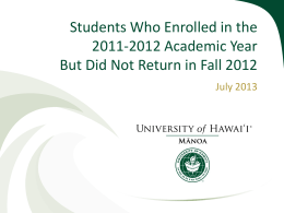 Students Who Enrolled in the 2011-2012