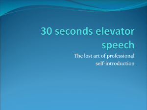 30 seconds Elevetor speech