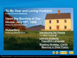 To My Dear and Loving Husband Poetry by Anne Bradstreet