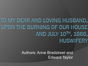 To My Dear and Loving Husband, Upon the Burning of our House