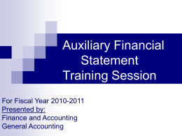 Auxiliary Financial Statements
