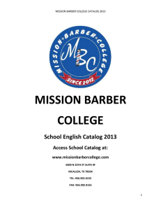 MISSION BARBER COLLEGE School English Catalog 2013 Access