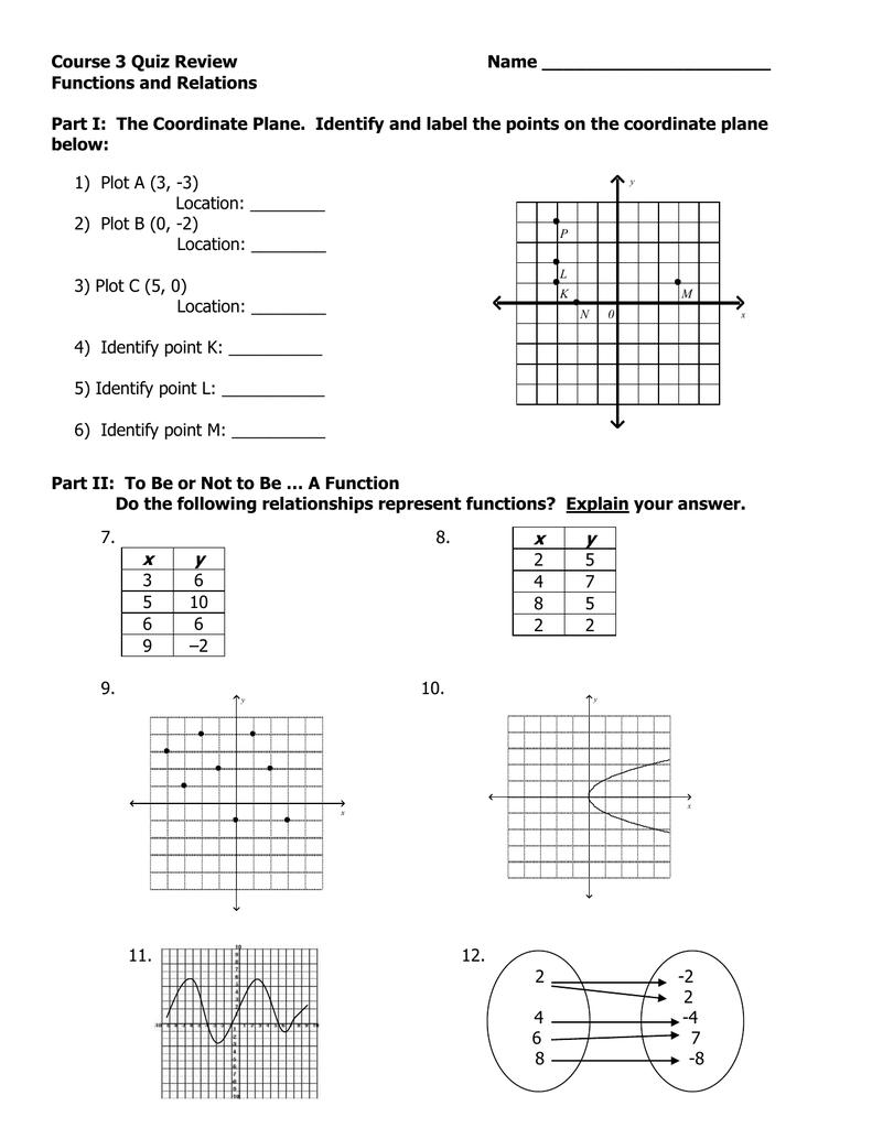 Pre-Algebra Quiz Review
