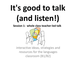 It's good to talk (and listen!)