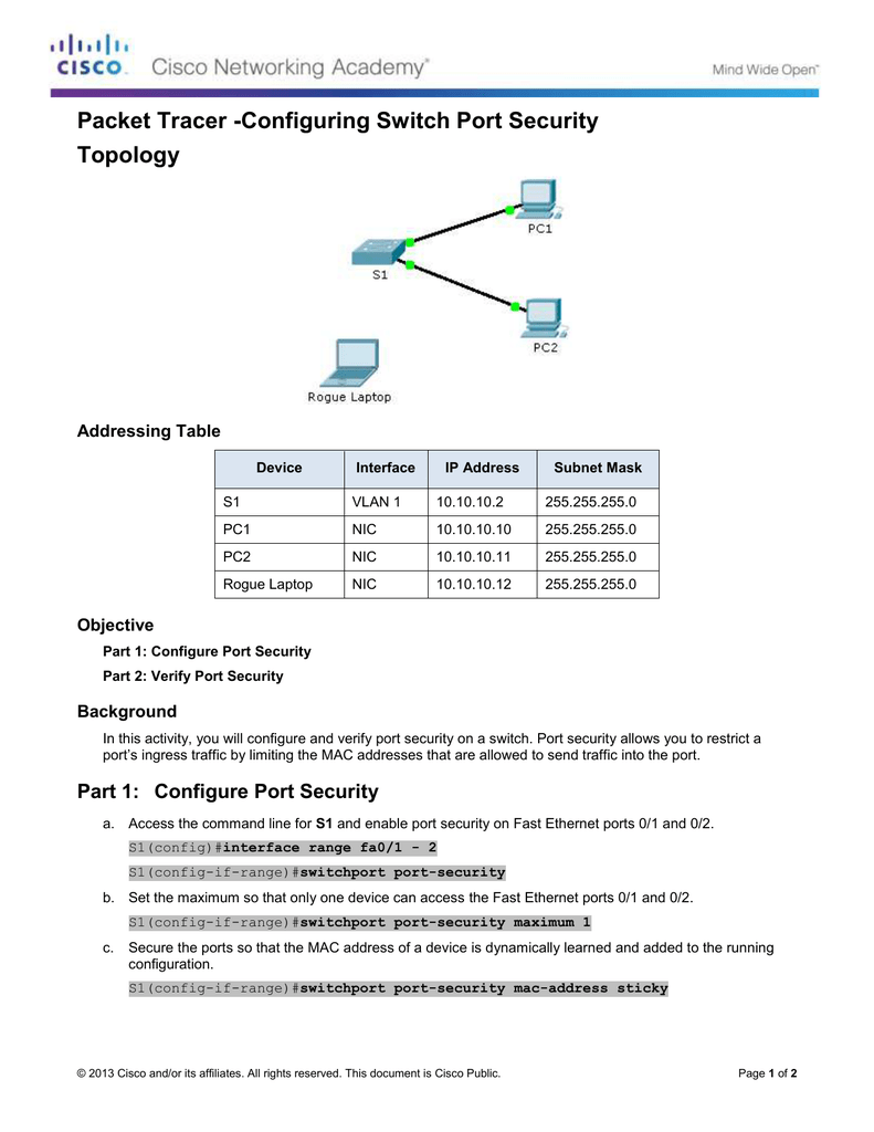 Packet Tracer -Configuring Switch Port Security Topology