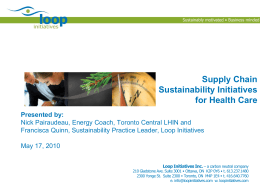 Sustainable Supply Chain in Health Care
