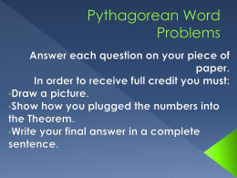 Pythagorean Word Problems PP
