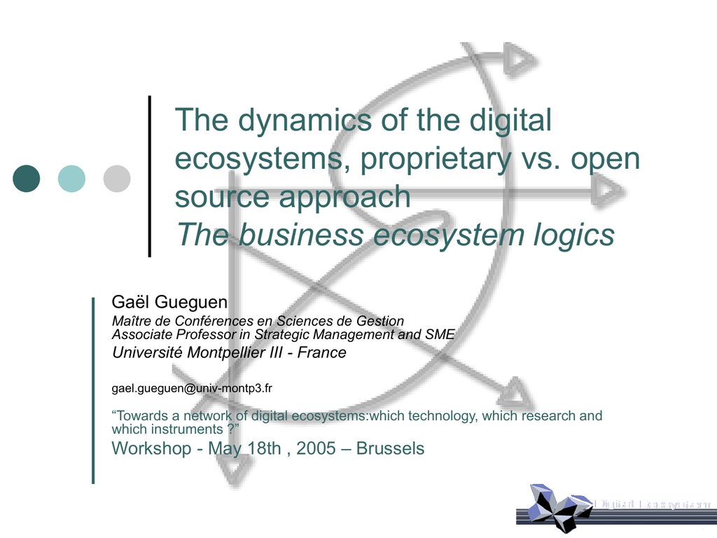 ppt - Technologies for Digital Ecosystems
