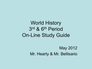 World History Chapter 18 On-Line Study Guide