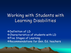 Working with Students who have difficulty learning