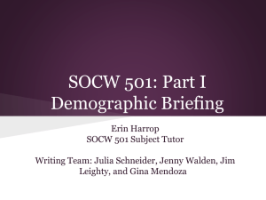 SOCW 501: Part I Demographic Briefing