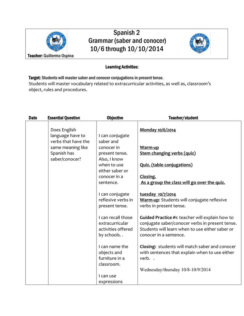 worksheet Saber And Conocer Worksheets spanish 2 grammar saber and conocer 106 through 10102014