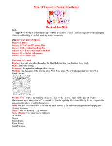 Mrs. O'Connell's Parent Newsletter Week of 1-4-2016
