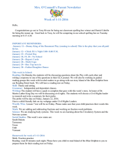 Mrs. O'Connell's Parent Newsletter Week of 1-11-2016