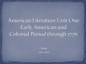 Early American and Colonial Period through 1776