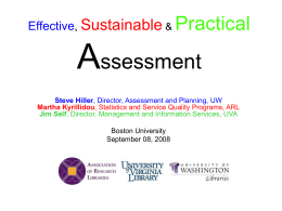 Effective, Sustainable, Practical Library Assessment