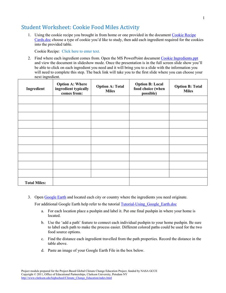 Student Worksheet: Cookie Food Miles Activity