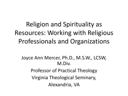 Religion and Spirituality as Resources