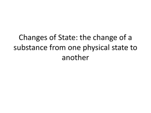 Changes of State: the change of a substance from one physical state