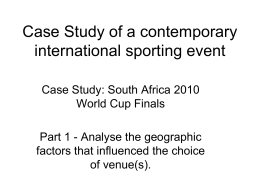 Case Study of a contemporary international sporting event