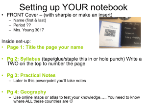 Pg 3: Practical Notes
