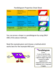 Parallelogram Properties Cheat Sheet Sides Both pairs of opposite