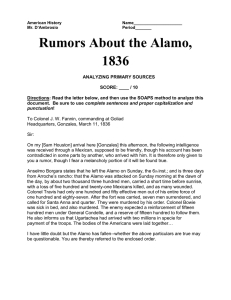 Rumors of the Alamo (1836) and conduct SOAPS analysis