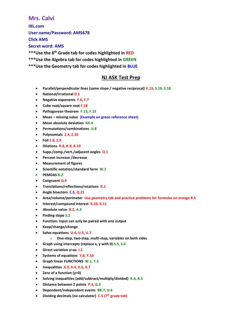 IXL Study Guide Codes