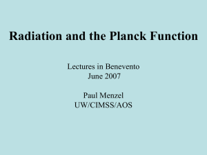 Lecture 1 – Planck Function, Radiation(Paul Menzel)