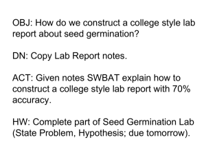 Construct A Lab Report - Seed Germination
