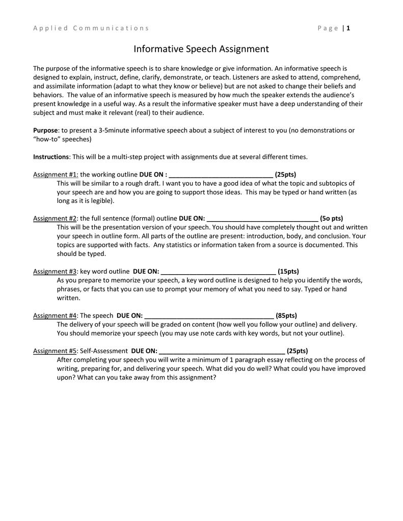 Informative Speech Assignment Regarding Speech Outline Template Word