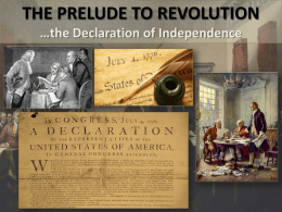 Prelude to Revolution & the DOI