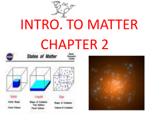 Intro to Matter Chp 2