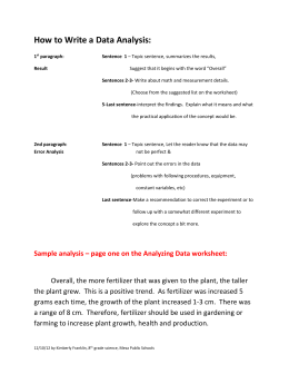 Sample analysis – page one on the Analyzing Data worksheet