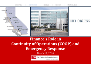 Finance's Role in Continuity of Operations (COOP)