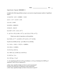 Name: Per: ___ Significant Figures WORKSHEET B Complete the
