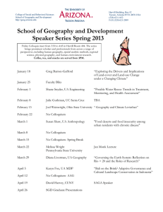 School of Geography and Development Speaker Series Spring 2013